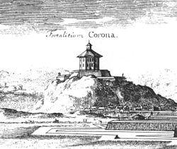 Skansen Kronan under vilken stadsdelen Haga byggdes. Detalj från Suecia Antiqua et Hodierna.