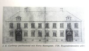 Johan Eberhard Carlbergs packhusfasad mot Norra Hamngatan från år 1726. Byggnadsnämndens arkiv.