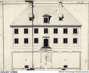 Göteborgs Spinnhus, ritning av Bengt Wilhelm Carlberg  1740.