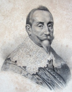 Staden Göteborg fick sina privilegier av Gustav II Adolf den 4 juni 1621. Privat kopparstick.